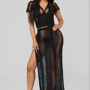 Other - Black Two Piece Crochet Swim Cover Up - medium